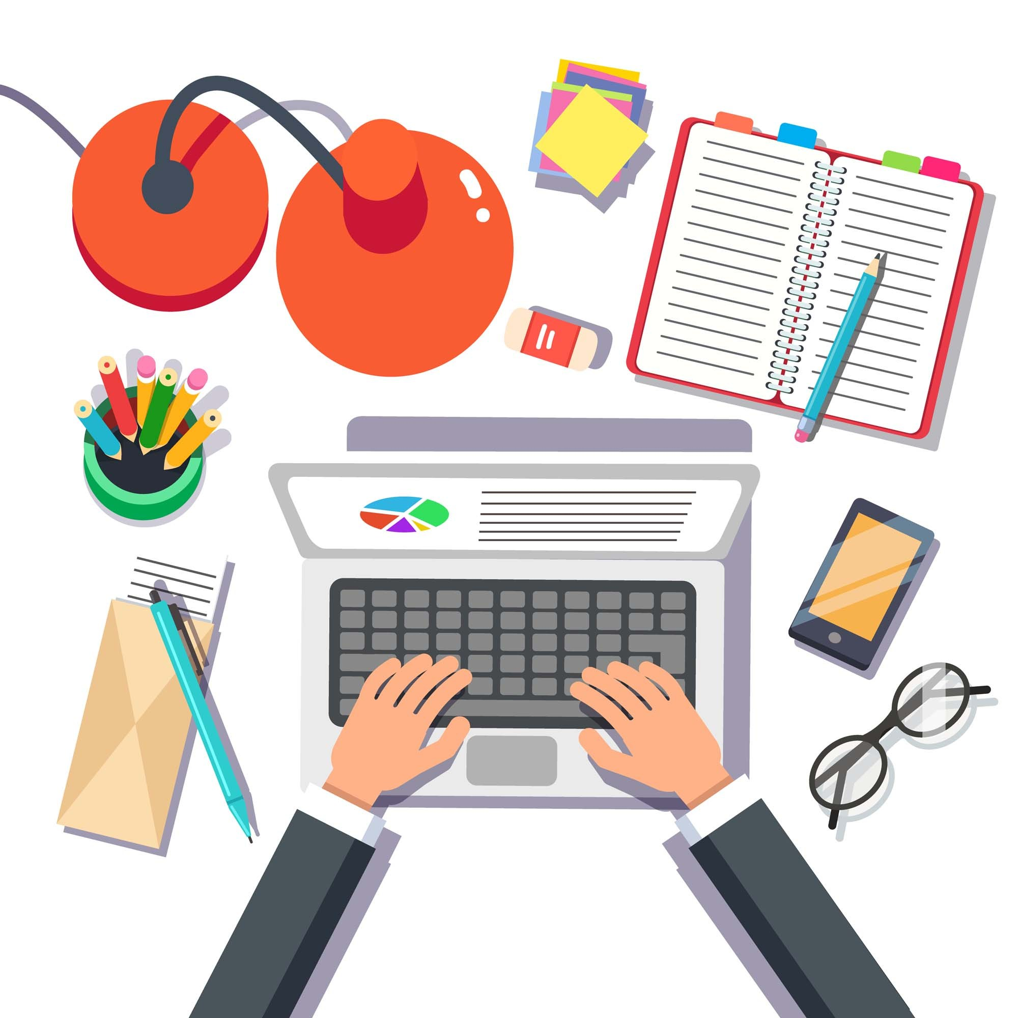 Businessman writing sales or marketing report on a laptop. Top view. Flat style vector illustration.